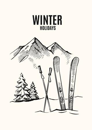 Ski in snow, mountains in winter season. Vector hand drawn