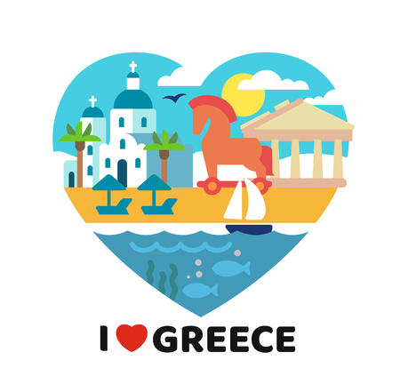 I Love Greece poster template vector illustration