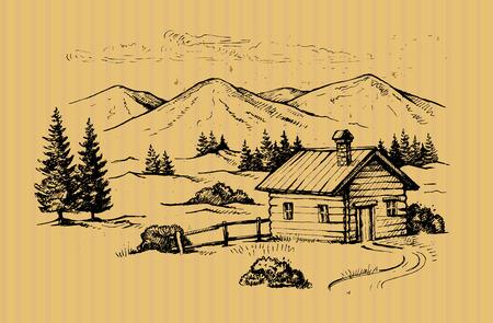 cabane en bois en illustration vectorielle de montagnes paysage
