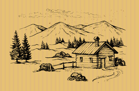 wood cabin in mountains landscape vector illustration