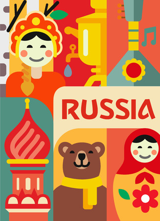 Russia culture travel set in flat design. Vector Illustration