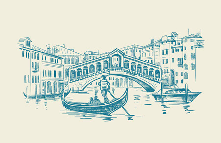 Venice in sketchy style. Vector illustration hand drawn