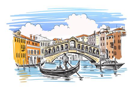 Venecia en estilo esquemático. Dibujado a mano ilustración vectorial Ilustración de vector