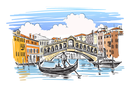 Venice in sketchy style. Vector illustration hand drawn 向量圖像
