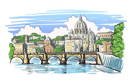 Veduta del ponte e della Basilica di San Pietro a Roma. Vettore