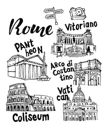 Rom Landmark Vector Sketch Set. Berühmtes historisches Wahrzeichen Vektorgrafik