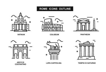 minimalist icon Rome flat line style. Vector