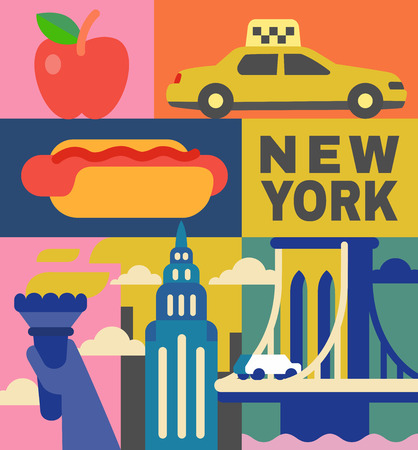 New York culture travel set in flat design. Vector Archivio Fotografico - 107294085