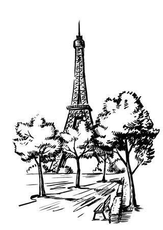 Mano dibujar ilustración vectorial Torre Eiffel, Francia