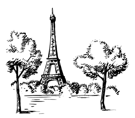 Hand Draw vector Illustration Eiffel Tower, France