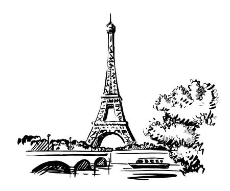 Illustrazione di vettore di tiraggio della mano Torre Eiffel, Francia