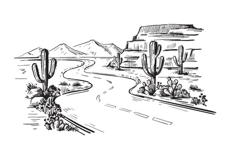 Desert North America Arizona. Hand drawn vector
