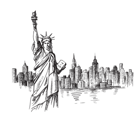 New York hand drawn sketch. Vector illustration Çizim