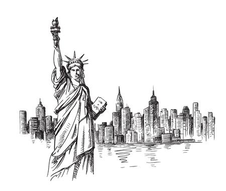 Schizzo disegnato a mano di New York. Illustrazione vettoriale
