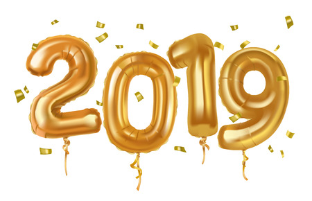 New year 2019 celebration. Gold balloons toy. Vector