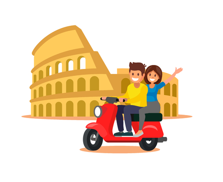 Man and woman riding scooter in city Rome, Italy. Vector