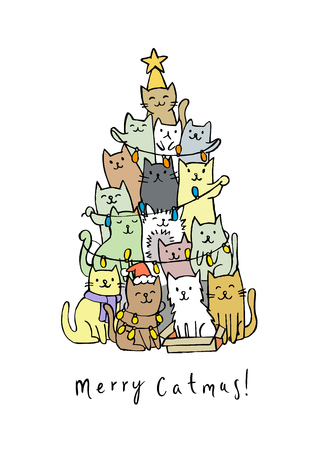 Merry Christmas and a happy New Year. Christmas tree with cats Stock Illustratie