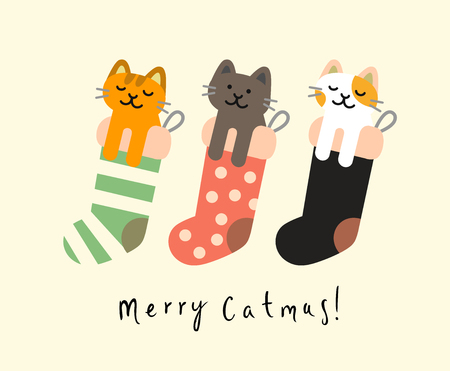 Knitted sock with Christmas cats. Vector illustration