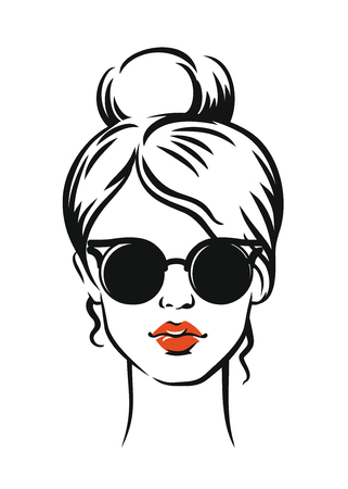 Stylish girl in glasses. Vector illustration