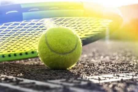 tennis court and balls 写真素材
