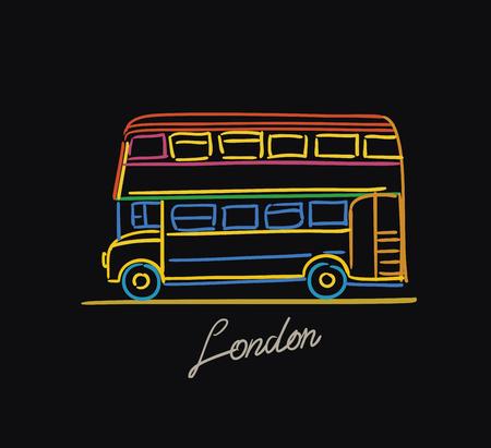 London Bus Postkarte Farbe auf schwarzem Hintergrund