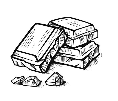 Pezzi di tavoletta di cioccolato bianco e nero Vettoriali