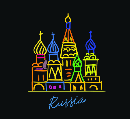 Moscow city colorful emblem Cathedral