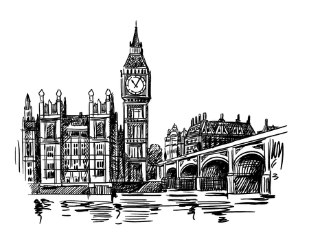 London Landmark Big Ben Tower sketch 向量圖像