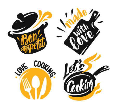 cuisson, lettrage, éléments, icônes, blanc