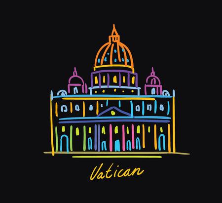 Vatican postcard color on a black background