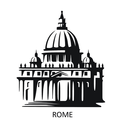 Rome icon. Saint Peters Basilica at Vatican Illustration