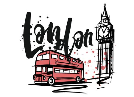 London ink sketch for design or postcard Stock Photo