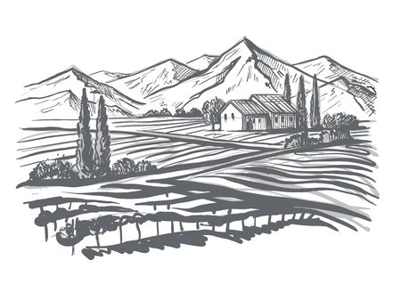 hand drawn image of village and landscape 写真素材