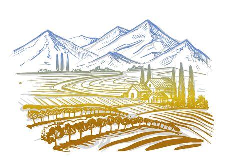 hand drawn image of village and landscape Banque d'images - 125929760
