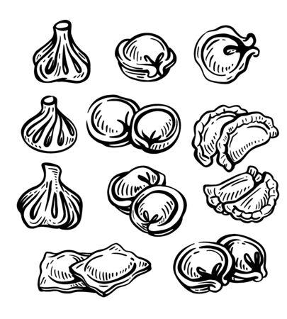 Hand drawn illustration of dumplings set 写真素材