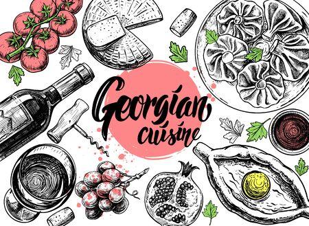 Hand drawn Georgian food menu on white background Banco de Imagens
