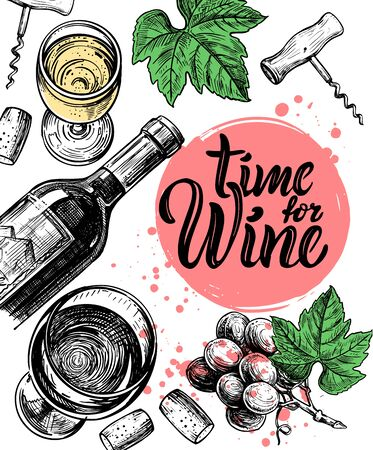 Wine sketch illustration bottle, glasses, grape vine, corkscrew, hand drawn Illustration