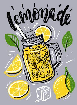 Tazza con limonata, schizzo per il tuo design