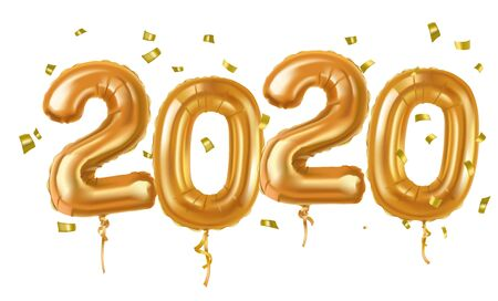 2020 Happy new year in gold. Numbers in style 2020  Ilustração