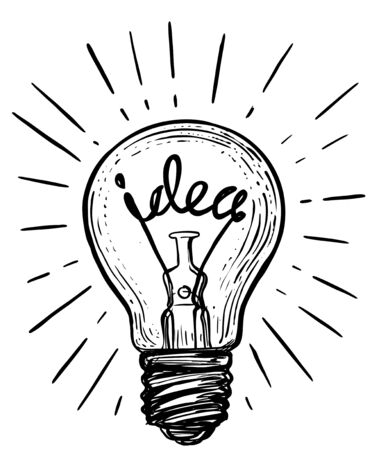 Vintage light bulb in sketch style. Idea sign