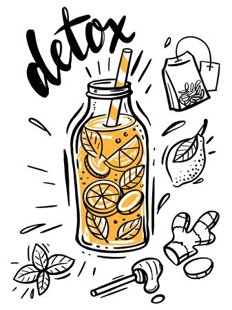 Sketch illustration of Detox water.