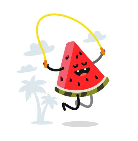 cute watermelon jumping rope outdoor