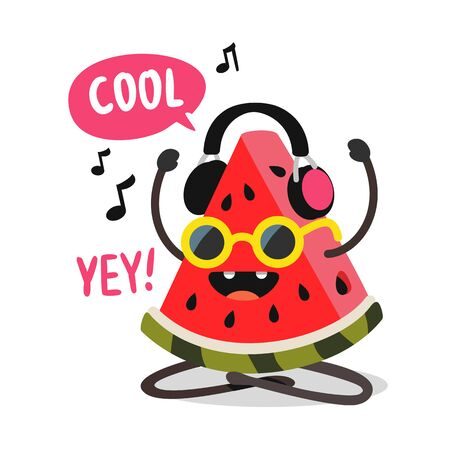 watermelon listening to music with headphones