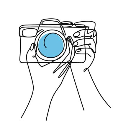 photographer with camera drawn continuous Line Doodle Vectores