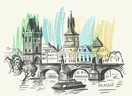 background of Prague. Charles Bridge Ilustração