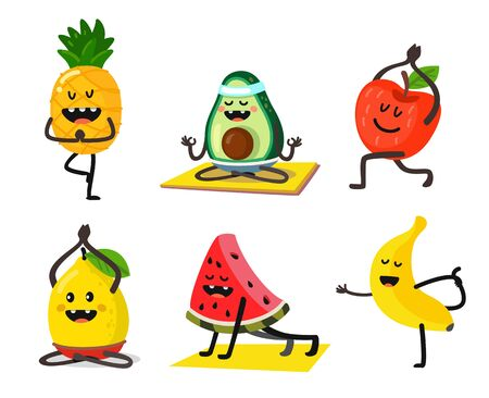 different fruits do yoga in different positions