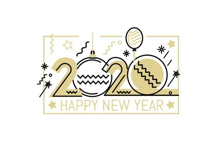 New Year emblem 2020 number design