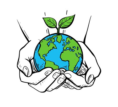 girls holding planet earth illustration on a white background