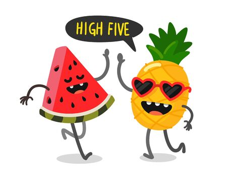 cute fruit watermelon and pineapple greet each other