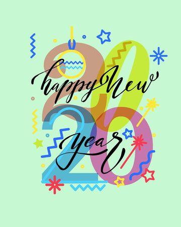 New Year 2020 number design. Brochure design template, card, banner. Illustration